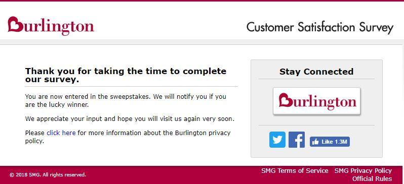 Burlington Customer Satisfaction Survey Rewards Image