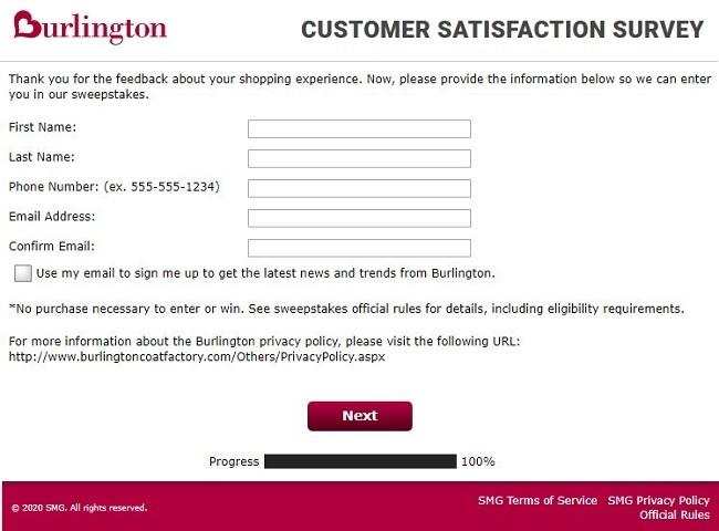 Burlington online survey contact information image