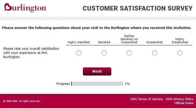 Burlington feedback survey questions image