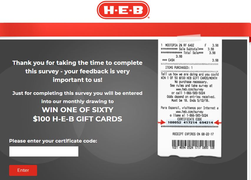 heb receipt survey certificate code entry image