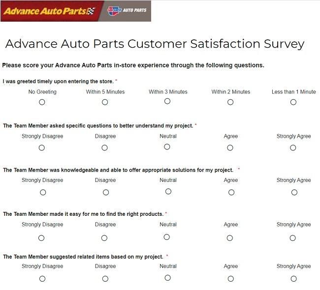Advance Auto Parts Feedback Survey Questions Image