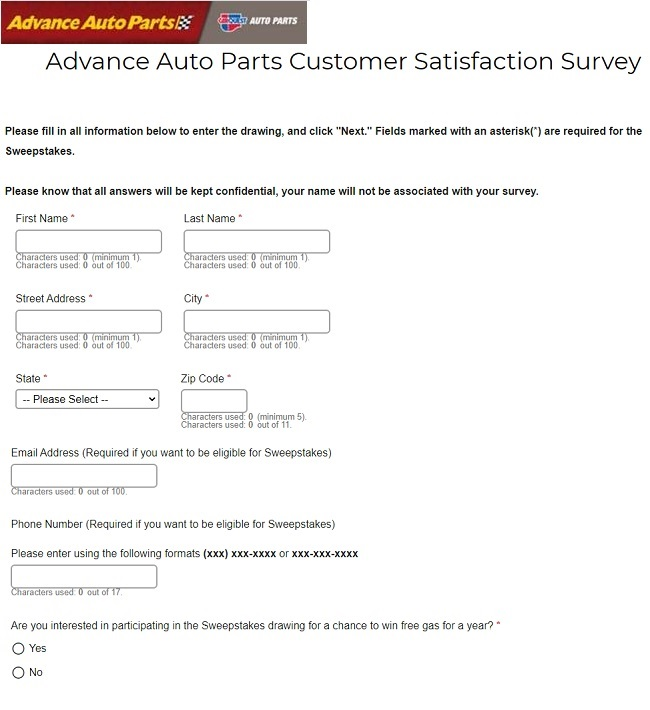 Advance Auto Parts Survey Sweepstakes Entry Image