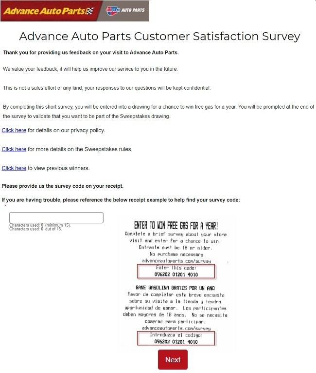Advanceautoparts.com/Survey Page Image