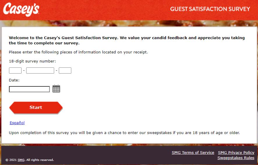 Casey's feedback survey page