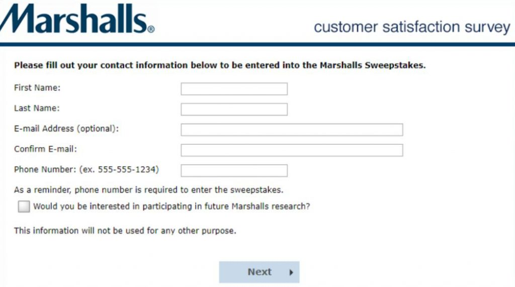 Marshalls store feedback contact information image