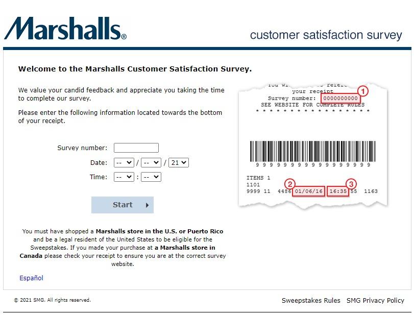 Marshalls survey questions image