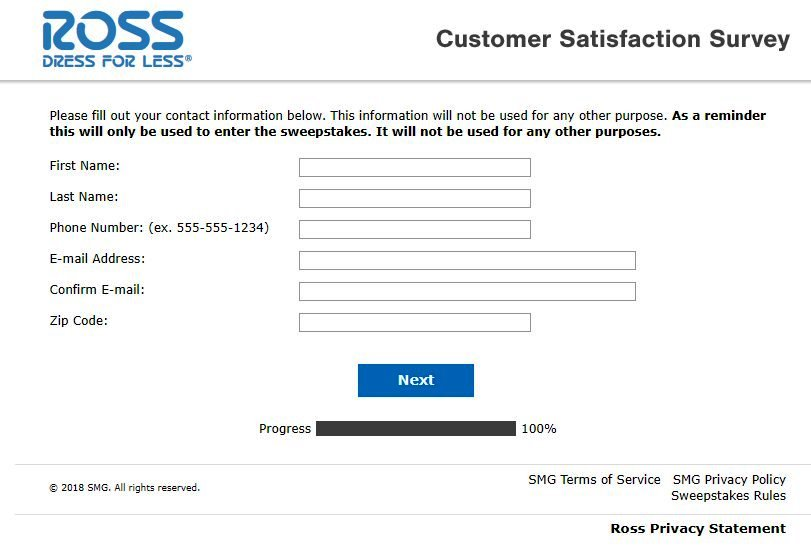 Ross Dress for Survey Contact Details Image