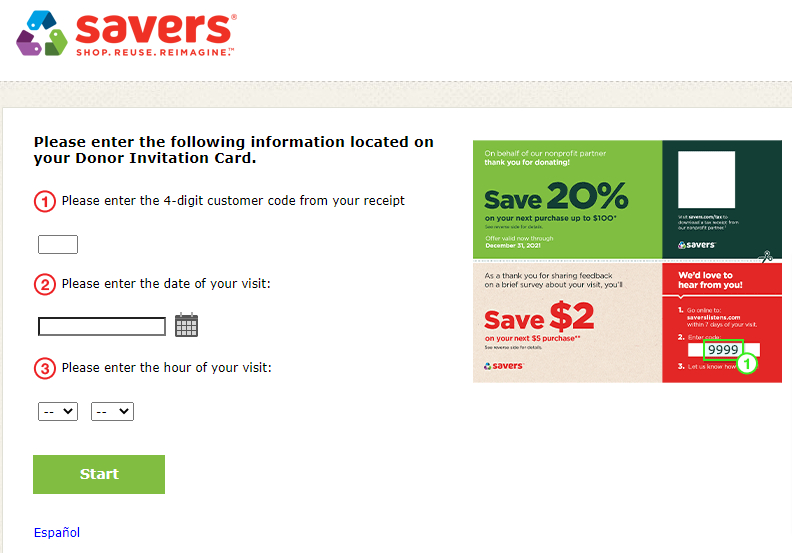 Savers Donor Invitation Card Survey Image