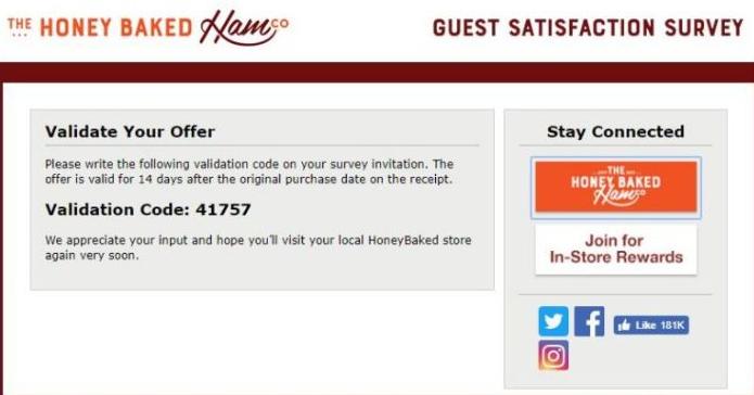 honey baked survey validation code image