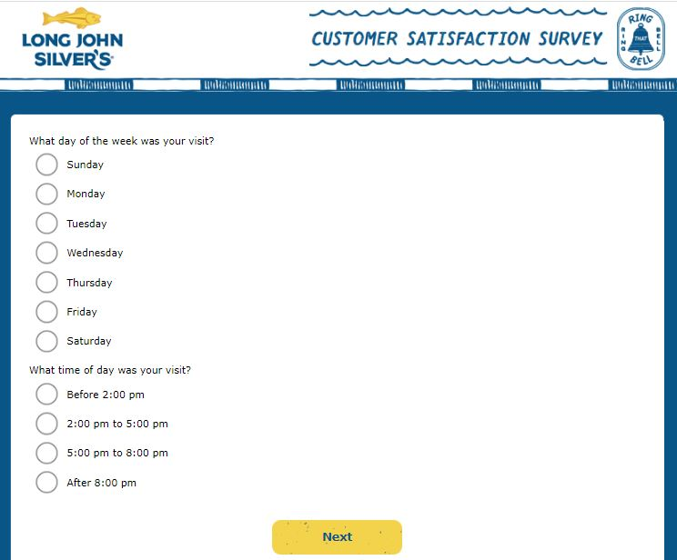 my long john silvers experience survey questions image