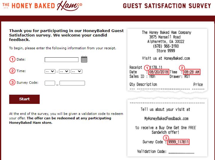 myhoneybakedfeedback survey page image