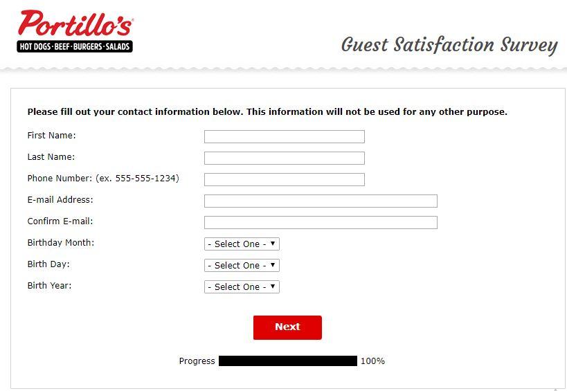 portillos.com/survey contact details image