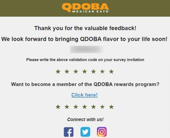 qdoba survey validation code image