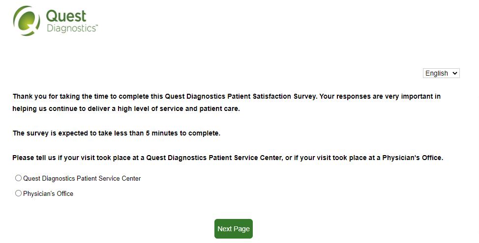 questdiagnosticsfeedback survey page image