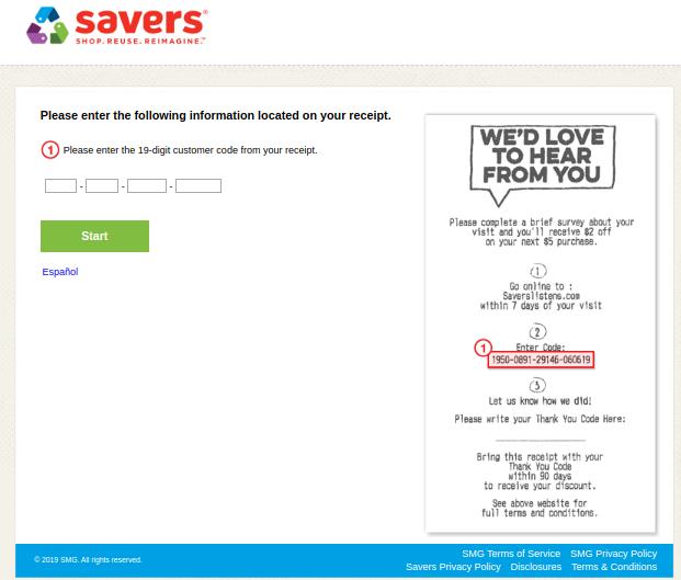 savers survey with receipt image