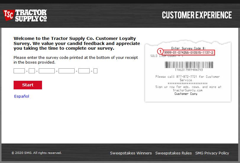 telltractorsupply.com survey page image