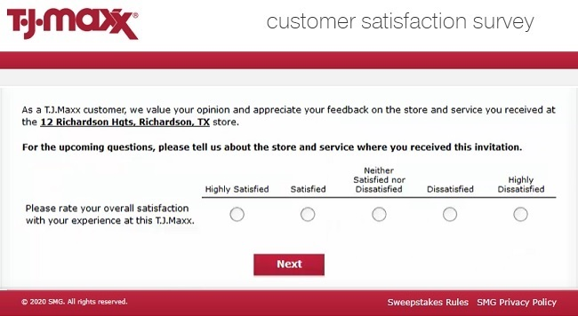 tjmaxxfeedback survey questions