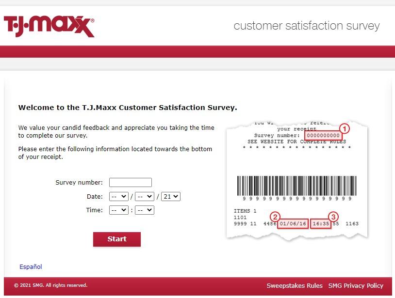 tjmaxxfeedback survey page image