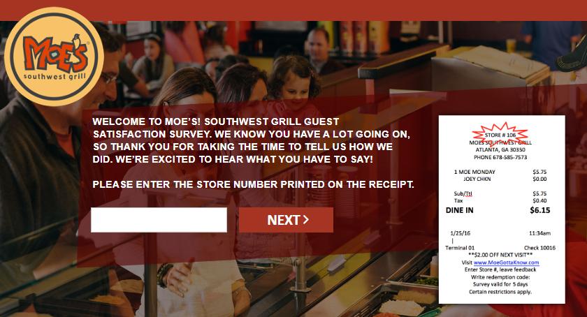 Moes Online Survey Store Number Image