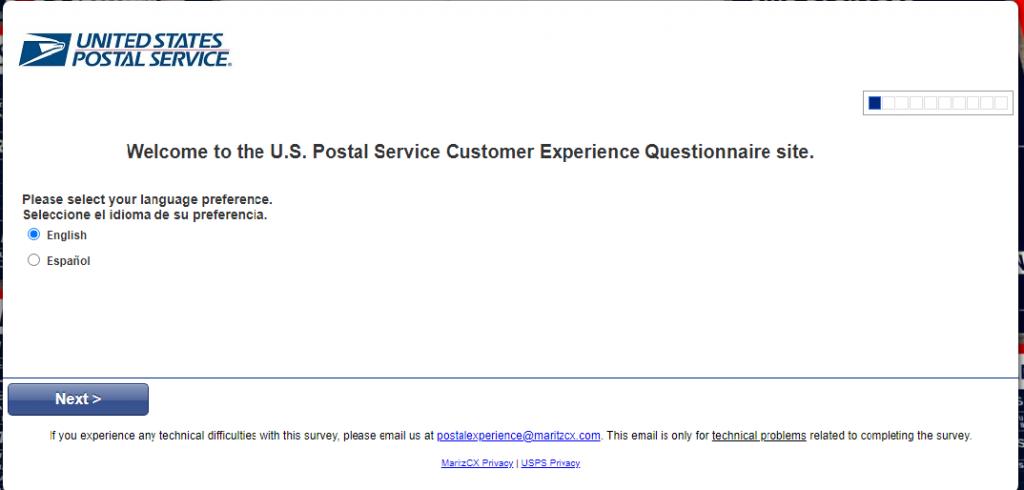 postalexperience.com/pos survey page Image